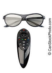 制御, tv., リモート, ガラス, 3d
