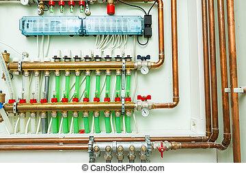 制御, underfloor, 加熱, boiler-room, システム