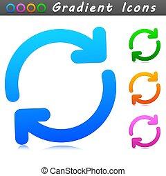 刷新, 符号, 设计, 图标, 矢量
