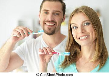 刷, 他們, 夫婦, 年輕, 牙齒