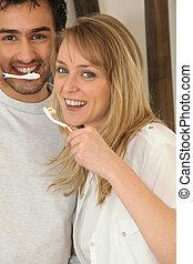 刷, 他們, 夫婦, 牙齒