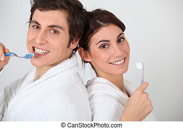 刷, 他們, 夫婦, 肖像, 牙齒
