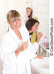 刷, 他們, 婦女, 年輕, 牙齒