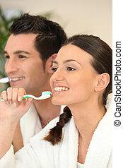 刷, 夫婦, 牙齒