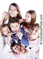 刷, 孩子, 牙齒
