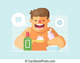 刷, 年轻, 变白, 牙齿, 家伙, 浆糊