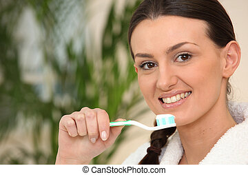 刷, 棕色毛發的, 婦女, 牙齒
