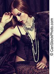刺激物, 老練, redhead, 年輕婦女, 在, 黑色, 女內衣, 以及, 小珠, 矯柔造作