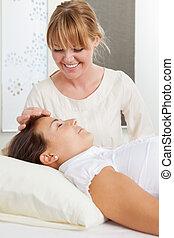 刺激, の間, 針, 美顔術, 刺鍼術