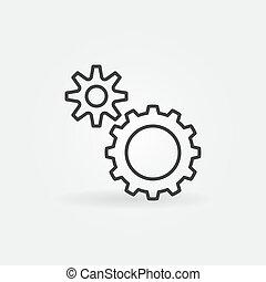 刺激, 稀薄, 概念, 齿轮, 图标, 矢量, 线