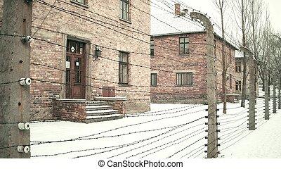 刺电线, 老, camp., 栅栏, auschwitz, birkenau, 雪, 建筑物, 落下, 砖, 集中