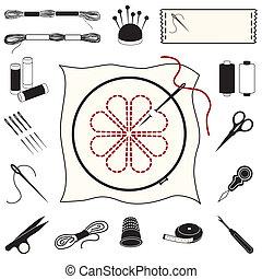 刺繍, 刺繍, アイコン