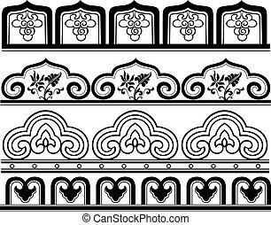 刺繍, 花, 繰り返した, パターン