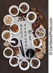 刺鍼術, 伝統的な薬
