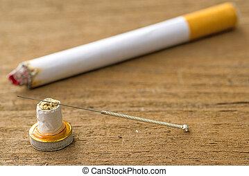 刺鍼術, 喫煙, 止まれ