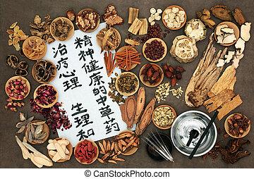 刺鍼術, 草療法, 中国語