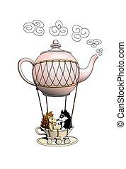 刺, 以及, raccoon, 有, a, 令人惊嘆, 旅行, 上, a, 茶壺, balloon