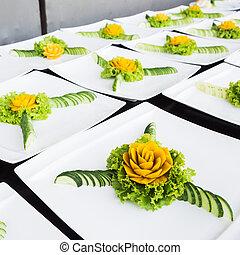 刻まれた, フルーツ, 野菜, 芸術, 技能, 食物