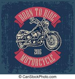 刻まれる, イラスト, motorcycle., ベクトル