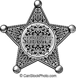刻まれる, スタイル, バッジ, 星, 保安官