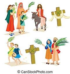 前に, 幸せ, エルサレム, 挨拶, 日曜日, 祝福, 人々, palmtree, イラスト, ベクトル, 宗教, イエス・キリスト, イースター, 乗車, 入口, ろば, 休日, 子供, 女, ヤシリーフ, 人, キリスト