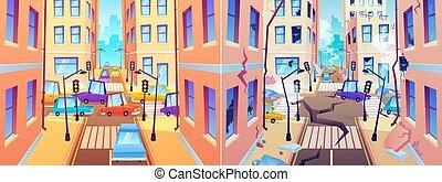 前に, 建物。, 町, earthquake., 通り, 破壊された, 後で, 災害, 自然, 傷つけられる, 道, 都市