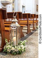前に, 結婚式, ceremony., 装飾, 教会