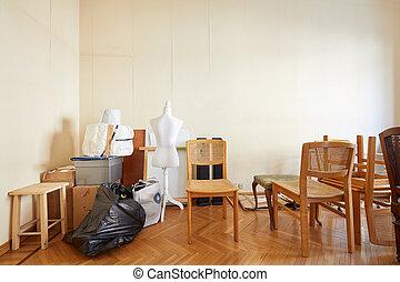 前に, 部屋, 家, 箱, 模造, 仕立屋, 椅子, 引っ越し