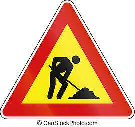 前方に, スロベニア語, 労働者, -, 印, 警告, 道