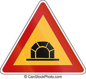 前方に, トンネル, スロベニア語, -, 印, 警告, 道