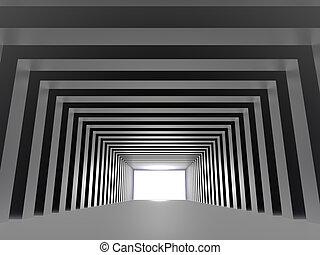 前方に, トンネル, ライト, 方法, 作成, コラム