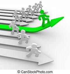 前方に, ランナー, -, 1(人・つ), 緑, 矢, 引き