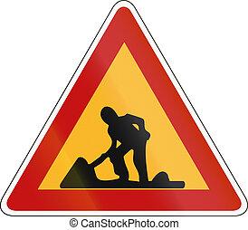 前方に, 労働者, -, 印, 警告, 道, 韓国語, 南