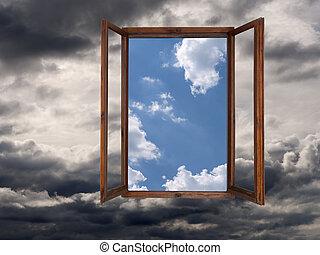 前方に, 改善された, concept., 時, よりよい, 窓, weather.