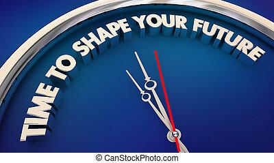 前方に, 時計, イラスト, 形, 未来, 計画, 言葉, 時間, あなたの, 3d