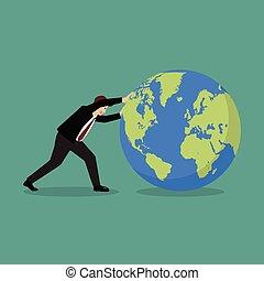 前方へ, ビジネスマン, 押す, 世界