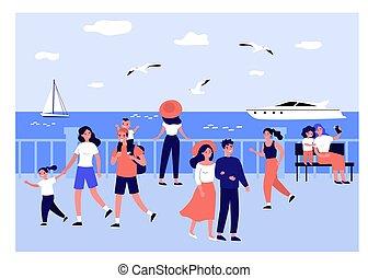 前方へ, 人々の 歩くこと, 波止場, 海, 幸せ