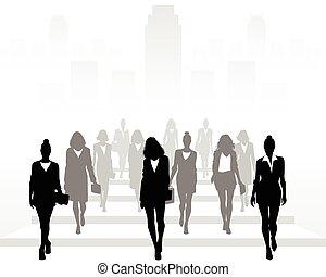 前方へ, 多数, 行く, 女性実業家