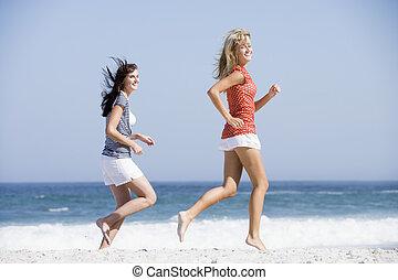 前方へ, 女性ビーチ, 動くこと, 2