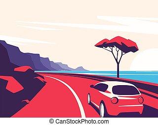 前方へ, 自動車, 山, イラスト, 道, ベクトル, 海洋, 赤, 引っ越し