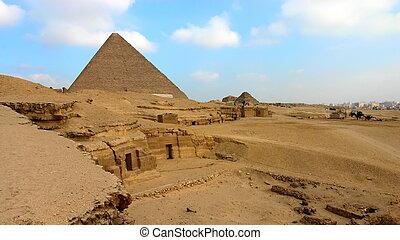 前景, ピラミッド, 葬儀の, 複合センター, greate, khafre