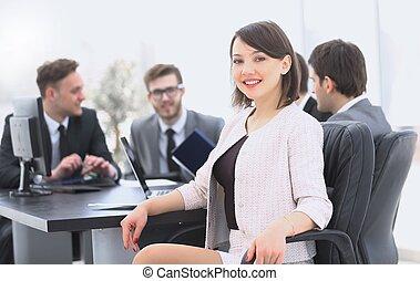 前景, 女, リーダー, ビジネス チーム
