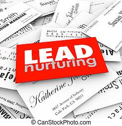 前景, 领导, 商业, 漏斗, 销售, 客户, 卡片, 养育