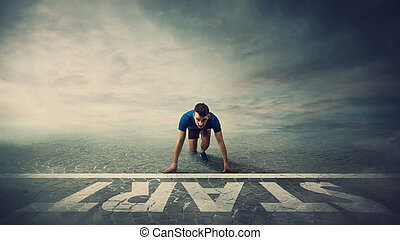 前途を考える, ポジション, concept., 動くこと, スプリンター, 行動, 若い, 線, 新しい, ランナー, challenges., 準備ができた, 断固とした, 始めなさい, 人, confident., 地位, 動機づけ, 勝者, 人