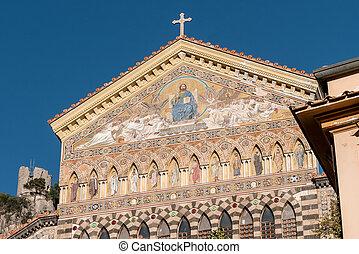 前部, アンドリュー, 熱心, italy., amalfi, 詳細, 聖者, 使徒, 大聖堂, 入口