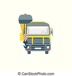 前部, クレーン, トラック, イラスト, 光景