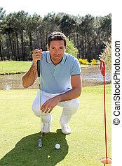 前部, ゴルファー, ひざまずく, golfball