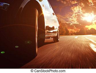 前部, サイド光景, の, 黒, 自動車, 速く運転