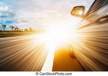前部, サイド光景, の, 黒, 自動車, 運転, fast.
