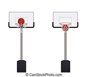 前部, バスケットボール, 光景, court.